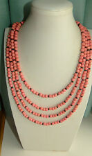 JEWELLERY 4 STRAND APRICOT OR ORANGE WOODEN BALL BEAD NECKLACE 842