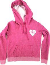 Pink Victoria's Secret Hoodie Jacket Sweatshirt Medium Pink Logo Speckled Heart