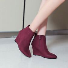 womens black or blue or wine red wedge heel suede ankle boots shoes size 4.5-8 #