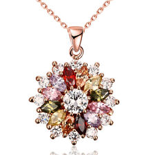 Rose Gold Plated Multi-Color Zircon Flower Pendant Necklace For Women KZCN088