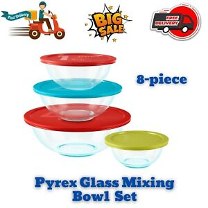 Glass Mixing Bowl Set with Lids Pyrex Smart Essentials Sturdy Durable, 8-Piece