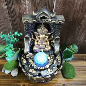 Tabletop Water Fountain Buddha Indoor Waterfall Feature Ornament with LED Light