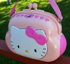 Vintage HELLO KITTY Pocketbook AM/FM Stereo CD Player Boom Box Sanrio Co KT2027
