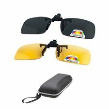 2 pares de gafas de sol Clip On Flip Up gafas de visión  (Amarillo + Gris)