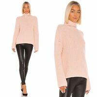 VINCE Wool Blend Lofty Rib Chunky Knit Turtleneck Sweater in Pink Sorbet Size XS