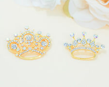 12 PC Gold Rhinestone Crown Brooch Pin Bouquet Brooches Sash Garter Sweet 15 16