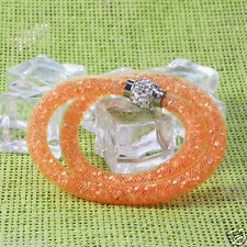 Crystal Wrap Wristband Cuff Punk Magnetic Rhinestone Buckle Bracelet Bangle