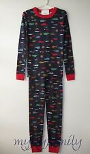 HANNA ANDERSSON Organic Long Johns Pajamas Navy Day Tripper Cars 140 10 NWT
