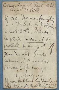 Joseph Angus, Baptist Minister, SIGNED note, Regents Park College, 1888