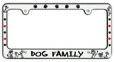 Plastic License Plate Frame Tag Holder - Dog Family - Dogs, Hearts, Paw Prints