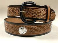 Men's New Belt Leather Round conchos  Cowboy Western Rodeo Brown