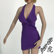 1:6 Scale ace Female figure parts - Purple sexy Babe girl one piece dress