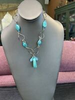 Vintage Turquoise Stone Bohemian  Beaded Bib Statement Necklace Silver Tone 18""