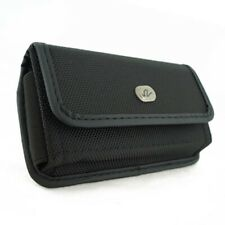 Black Rugged Canvas Phone Case Cover Pouch Holster Belt K5X for Cell Phones