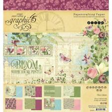 """Graphic 45 'BLOOM' 8x8"""" Paper Pad Floral/Flowers/Butterflies Card Making"""