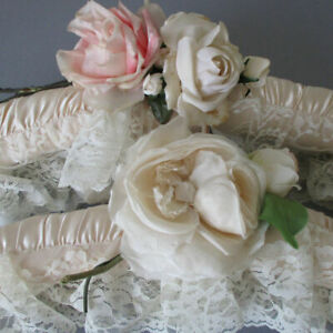 2 Vintage Cream Padded SATIN Clothes Hangers LACE Trim SILK Millinery Flowers