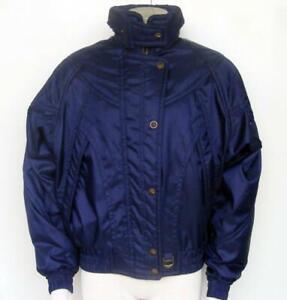 Descente Vtg Ski Jacket 10 Snow Board Dark Midnight Blue Gold Logo Winter Sports