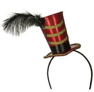 Costume Accessory - Mini Circus Hat Ringmaster Headband w/ Feather