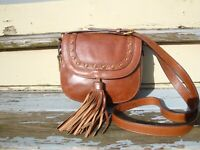 FOSSIL Brown Leather Crossbody Handbag Saddle Rugged Fringe Tassel Boho Hippie
