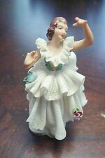 """DRESDEN LACE TUTU-BALLERINA Germany 4 1/2"""" tall decorated with flowers"""