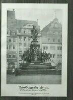 LPZ) Kunst Blatt Leipzig Siegesdenkmal 1913 Entwurf von Siemering 1888 24x34cm