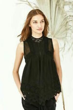 "$437 ULLA JOHNSON ""Litsa"" Top SZ 0 XS Lace Eyelet Black Silk Boho Blouse"