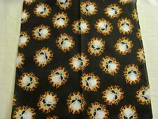 SKULLS IN FLAMES PRINT BANDANA IN YELLOW AND ORANGE POLYCOTTON 22x22in.