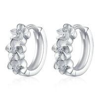 Fashion Women Silver Alloy Flower Shape Rhinestone Shiny Hoop Ear Stud Earrings