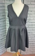 Dorothy Perkins Grey Skater Dress Sleeveless UK Size 16 V Neck