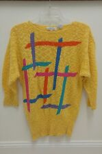Vintage ~ JEANNE PIERRE Yellow Long Sleeve Sweater Crewneck Size S ~ EUC