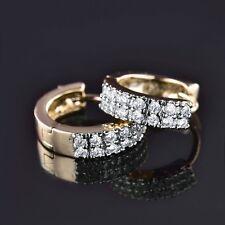 18K Gold Platinum filled white Swarovski crystal Glamorous charm Huggie earrings