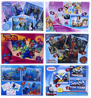 NEW OFFICIAL DISNEY SPIDERMAN FROZEN JIGSAW PUZZLES TRIO PUZZLE GAME 3 IN 1