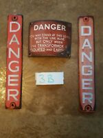 Vintage curved Enamel Danger Sign + 2 Electricity Railway  telegraph pole 3B