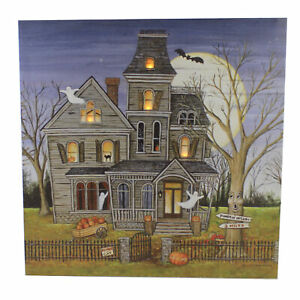 Halloween Haunted House Led Wall Art Wood Halloween Picture Lights Up Xwal76396