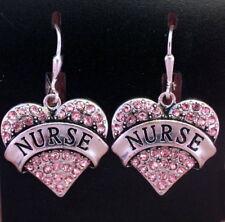 Nurse RN LPN Pink Crystal Heart Silver Earrings Free Gift Box