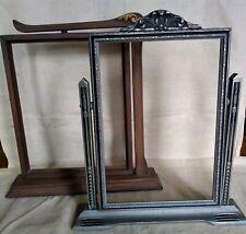 2 Vintage Art Deco Tabletop Picture Frames Swivel Tilt Swing Side Swinging Lot