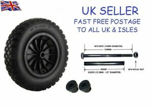 "14"" REPLACEMENT PUNCTURE PROOF WHEELBARROW WHEEL 3.50-4.00/8 + 120MM AXLE SET"