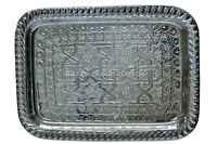 16 Inch New Moroccan Handmade Authentic Brass Tea Tray Large Silver Plated Fez