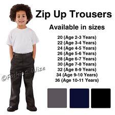 Boys School Trousers Zip Up Uniform Black Grey Navy Age 3 4 5 6 7 8 9 10 11 12