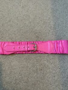 Pink neon faux Leather belt S