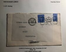 1947 London England Commercial War Economy Label Cover To Farnborough