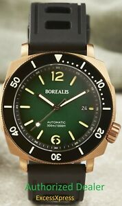 NEW BOREALIS NAVALE BRONZE Fumed Green Dial Rotating Bezel DIVER Watch WARRANTY