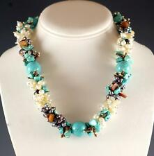 NEW GENUINE TURQUOISE MAGNESITE COLORED FRESH WATER PEARL QUARTZ SILVER NECKLACE