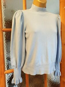 RIVER island PETITE balloon SLEEVE baby BLUE jumper TOP size 14