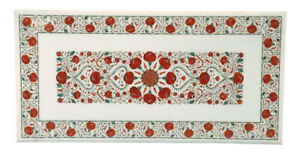 24 x 48 Inches Marble Coffee Table Inlay Sofa Table with Carnelian Stone Work