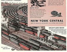 1944 WWII Ad ~ NEW YORK CENTRAL Railroad RR Coal Yard Cars ~ Black Magic!