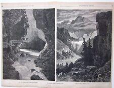 1883 GOLA TRIENT - ALTMANN 2 xilografie Illustrazione Popolare Vernayaz Wildhaus