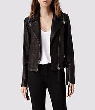 AllSaints Alford Convertible Leather Biker Jacket UK 10 US 6 +excellent+