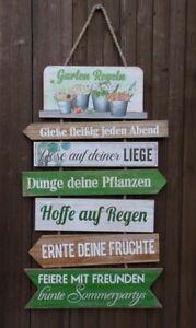 Dekoratives Holz/MDF - Schild Gartenregeln an Kordel Top- Geschenk 61cm inkl. VK