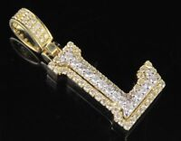 L Initial Custom 3D Letter 1.50 CT Diamond Pendant Charm In 10K Yellow Real Gold